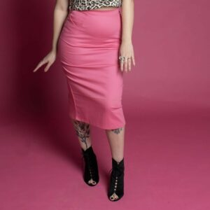 Tattooed model wearing hot pink vintage pencil skirt with pockets. vintage pencil skirts, eco fashion, sustainable fashion