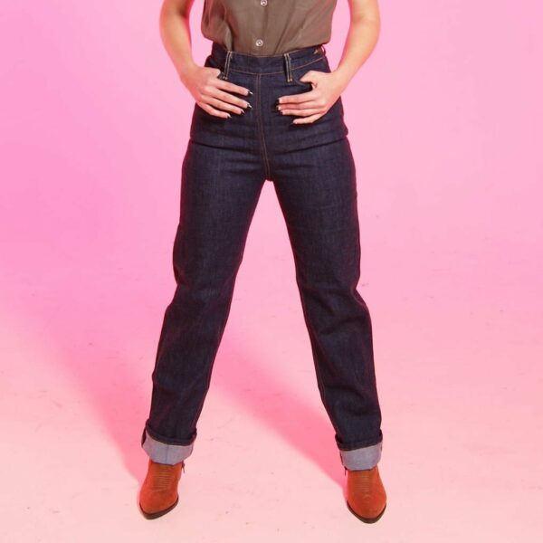 Ethically sourced rockabilly style le wild jeans with high rise, size zip and straight leg