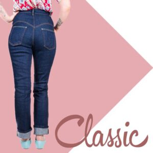 Classic 50s high waist jeans | Vintage style pin up rockabilly jeans from Lady K Loves