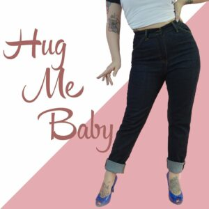 Vintage style high waist jeans, high waist tight jeans, jeans for big hips | Hug Me Baby Jeans from Lady K Loves | Vintage style high waist jeans