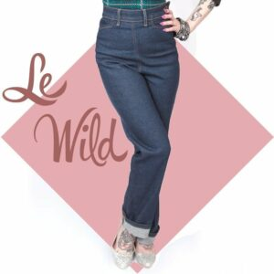 Vintage style jeans with a side zip. Rockabily western pin up high waist jeans