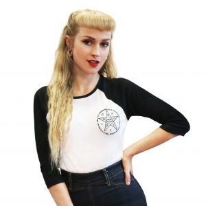 witches tee goth retro black and white baseball tee