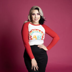 Womens retro style baseball tee with rainbow stripe and feminist slogan