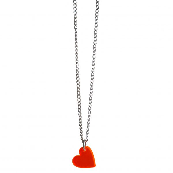 acrylic heart necklace on silver chain. Vintage, retro inspired jewellery from sustainable fashion brand lady k loves