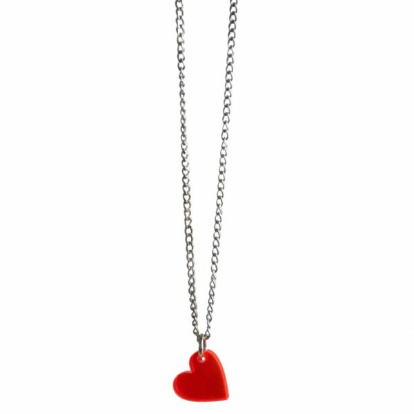 red heart pin up necklace