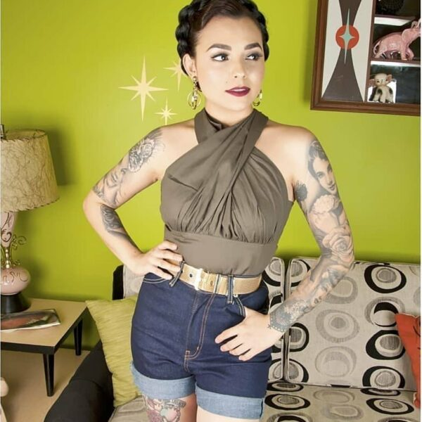 petite pin up Miss Letty Lou in high waist vintage style denim shorts