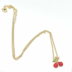 Gold chain Cherry necklace