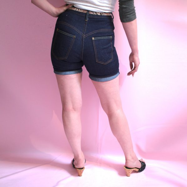 Vintage high waisted shorts for ladies in denim blue, sustainable fashion, eco fashion