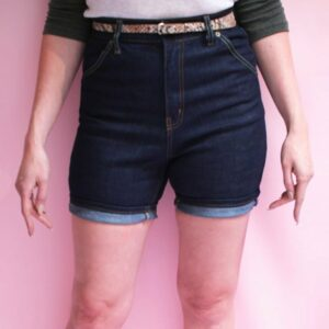 Vintage high waisted shorts for ladies in denim blue