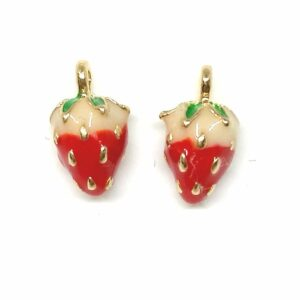 Pair of gold tone and enamel stud strawberry earrings.