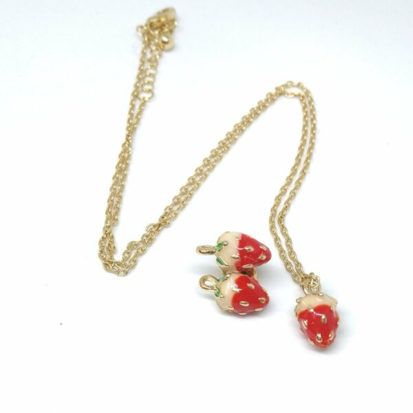 Set of 1 strawberry charm necklace on gold tone chain and 1 pair of strawberry stud earrings. strawberry earrings, fruit necklace