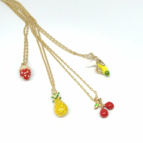 get fruity! Which is your favourite fruit? Wear it with pride with our kitsch fruit necklace range. fruit necklace