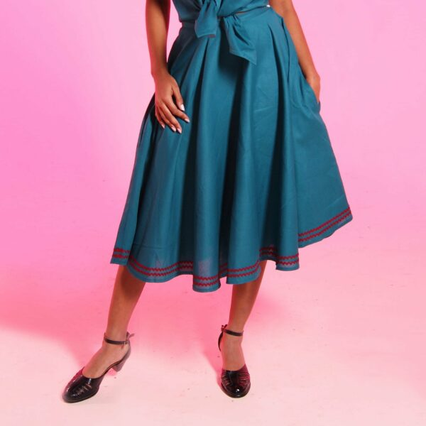 vintage pinup style darling circle skirts with pockets in blue with red trim from eco friendly, sustainable fashion brand lady k love