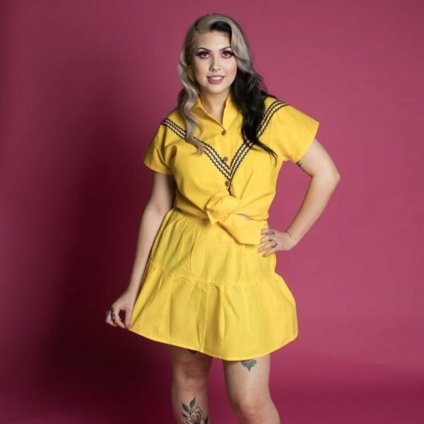 Lemon yellow and navy matching blouse and skirt