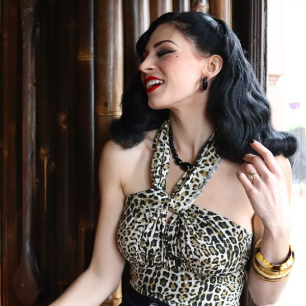 Miss elle la belle wearing animal leopard print rockabilly halterneck