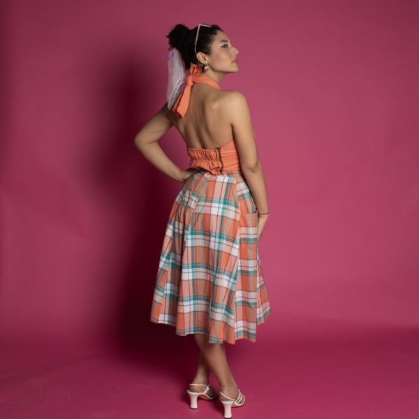 PIn Up Of Colour in orangic cotton sun top and picnic check full 50s style skirt, circle skirt with pockets
