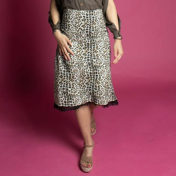 Leopard parint A line skirt with tassels inspired by Gwen Stefani