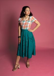 Vintage 50s style outfit with mix & match circle skirt featurning pockets and square neck sun top.