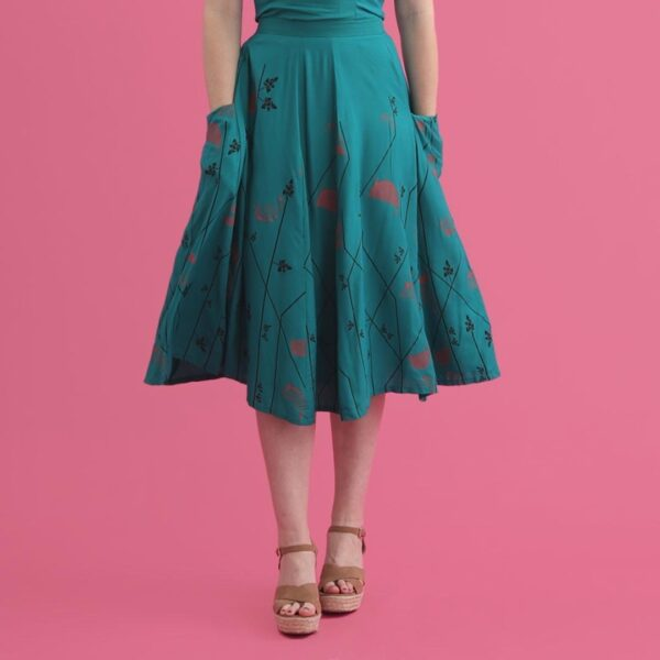 Shirley Skirt Teal Boarder Print 2 Web copy - Lady K Loves