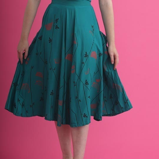 Shirley Skirt Teal Boarder Print Web - Lady K Loves