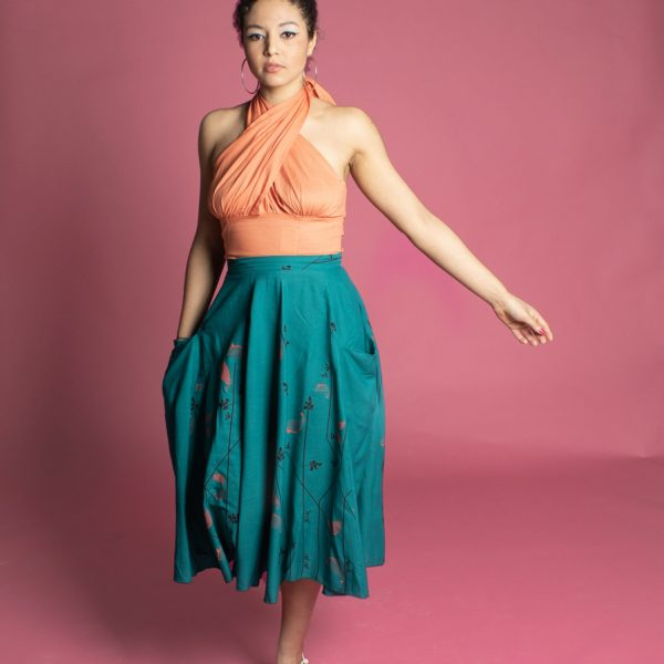 50s flared skirt with pockets and cross over halter top made from organic cotton worn by pin up model