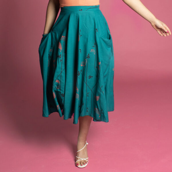PIn Up Of Colour in teal board full 50s style skirt, circle skirt with pockets