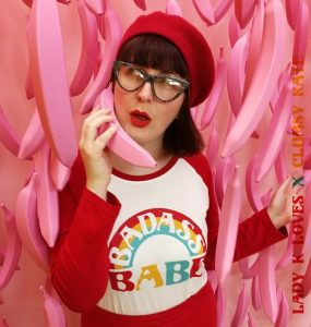 Retro-Inspired Print Designer Clumsy Kate in Badass Babe Tee Rockabilly Clothing