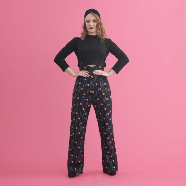 Rosie Print AM Black Rosie trousers back print high waist wide leg trousers palazzo pants landgirl trouserse landgirl army vintage workwear 50s 60s 40s 70s inspired high rise trousers - Lady K Loves