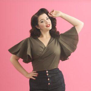 woman in khaki top | Lady K Loves